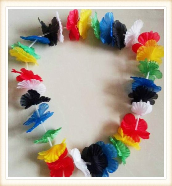 Hawaiian Flower leis Garland Necklace Fancy Dress Party Hawaii Beach Fun Flowers DIY Party Beach Decoration