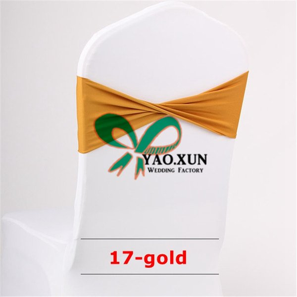 Gold Color Lycra Spandex Chair Band Used On Wedding Spandex Chair Cover Free Shipping