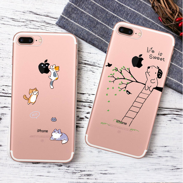 Cute Cartoon Animals Painted Phone case For iphone X 6 6S 7 8 Plus 5S Samsung Galaxy S7 Edge S8 S9 Plus Note 8 Soft TPU iphone Case Cover