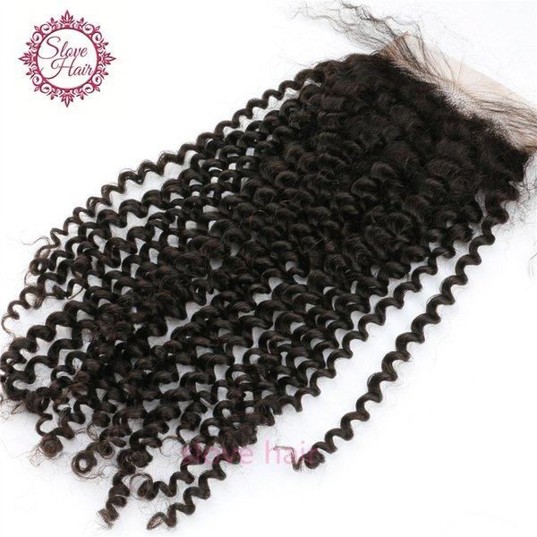 Brazilian Silk Base Closure Kinky Curly Free/Three/Side Part Swiss Lace Silk Base Closure Bleached Konts Slove Rosa Hair Product