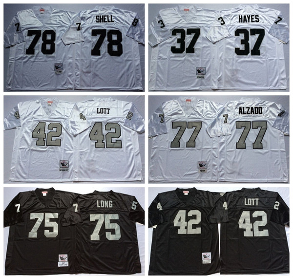 size 40 cd62e eaaa9 2016 Cheap Throwback 37 Lester Hayes Jersey Men 42 Ronnie Lott 75 Howie  Long 77 Lyle Alzado 78 Art Shell Jerseys Retro Black White Stitched Logo  From ...