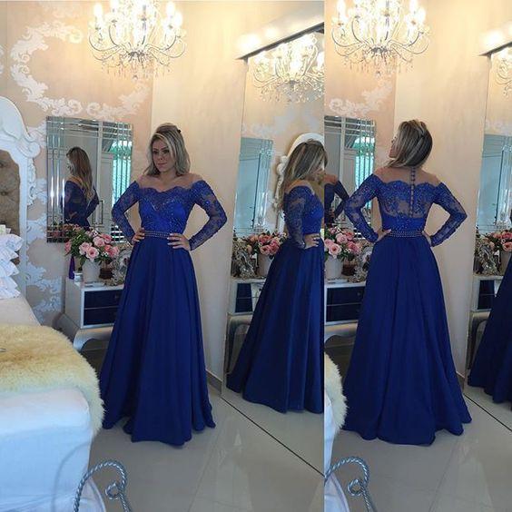 2017 Modest Plus Size Royal Blue Evening Dresses Lace Off-Shoulder Long Sleeve Elastic Satin Formal Dresses Evening Wear Sash Custom Made