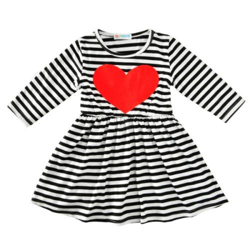 Black White Striped Red Heart