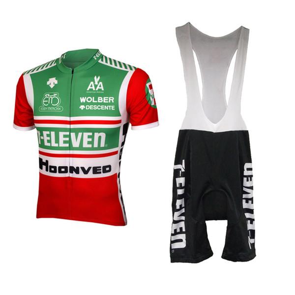 2019 männer radfahren jersey set schwarz hosen 7 elf fahrradbekleidung 3D gel träger sommer maillot / rennrad kleidung sets ropa ciclismo