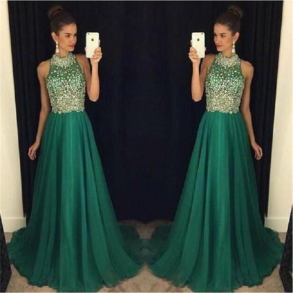 Emerald Green Halter Dress