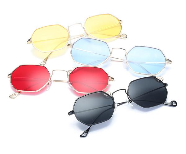 Hexágono Armação de Metal Tendências Mulheres Óculos De Sol Pequeno Quadro Óculos de Sol Marca Designer Homens Do Vintage Polígono Lente Clara Óculos De Sol 371 M