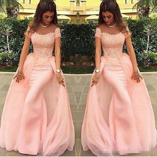 2017 Short Sleeve Peach Vestidos Evening Dress New Design Modern Lace Sheath Long Formal Prom Gowns Tulle Custom Made Floor Length Hot Sale