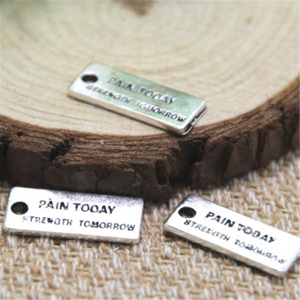 12pcs douleur aujourd'hui force demain charmes ton argent 2 côtés force breloque pendentifs 21x8mm