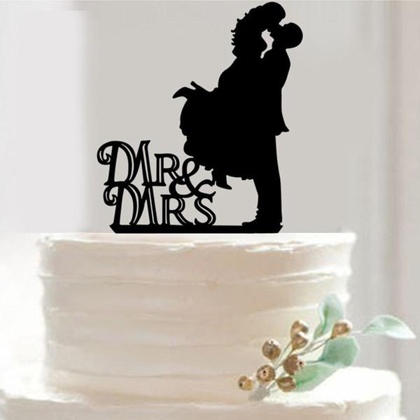 Al por mayor- 7 estilos Sr. Sra. Cup Cake Topper Pastel de acrílico Pie plato de fruta Decoración de mesa Boda feliz cumpleaños favores de la fiesta Suministros