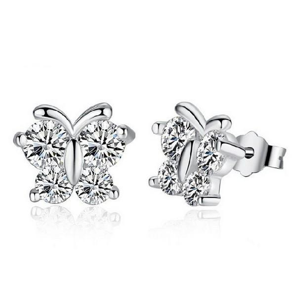 White Crystal Butterfly Earring Stud Ear Nail Simple Silver Plated Design Huggie Earrings Accessories Set for Women Pierced Ears New Jewelry
