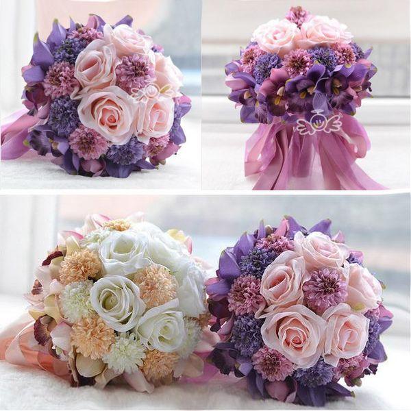 Beach Wedding Flowers Bridal Bouquets Purple Rose Romantic Marriage ...