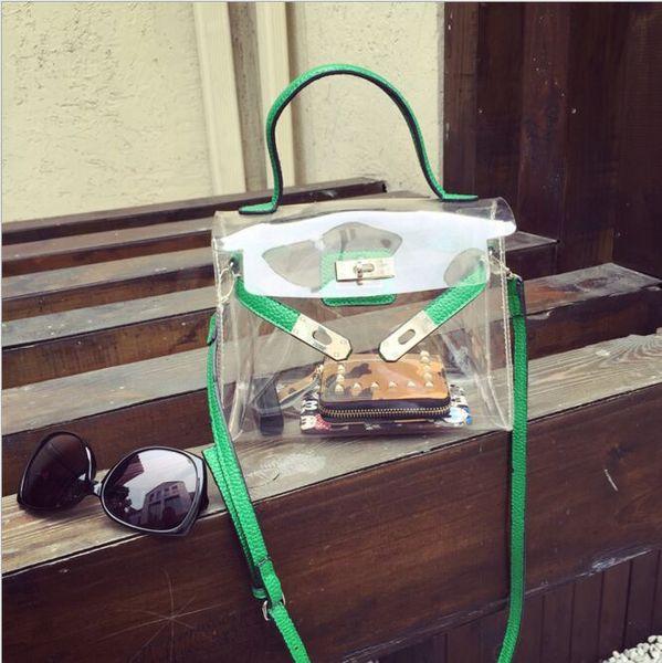 neue Art und Weisefrauensommer-Strandbeutel-Süßigkeitfarben-freie Plastiktaschefrauenhandtasche kleine Klappe transparente PVC crossbody süße nette Botetasche