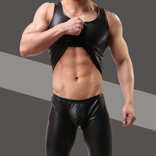 Wholesale- Mens Sexy Vest Faux Leather Black Tank Tops For Male Gay Wear T Shirts Men Undershirts Clothing Tees Plus Size M/L/XL/XXL