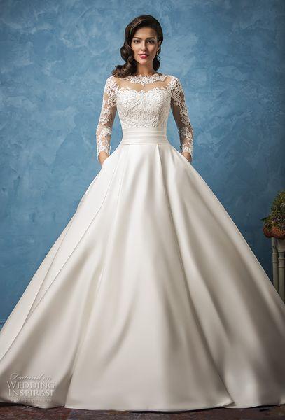 Pockets Royal Train Satin Vintage Wedding Dresses 2017 Amelia Sposa ...