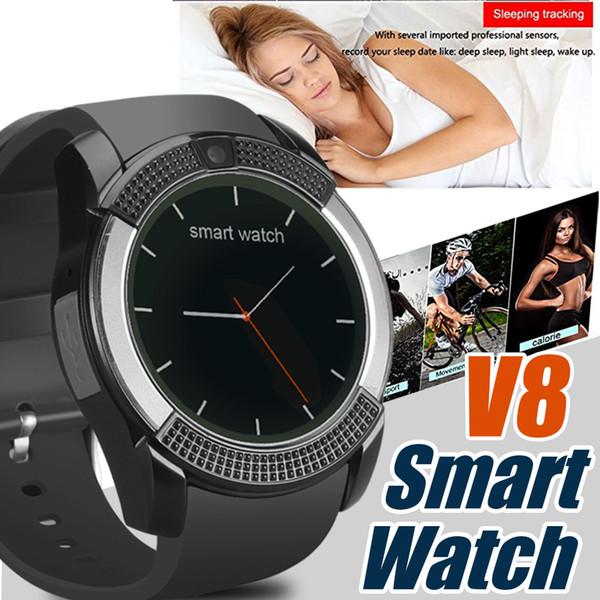 best selling V8 Smart Watch Wristband Watch Band With 0.3M Camera SIM IPS HD Full Circle Display Smart Watch For Android System With Box