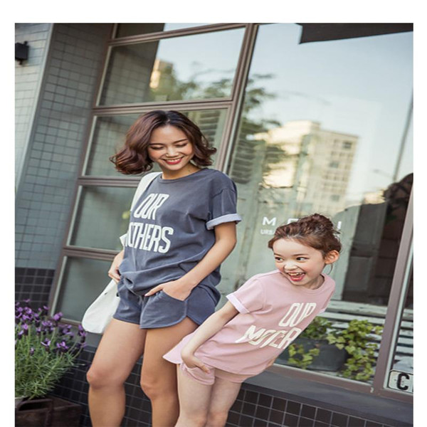 2017 Family Fashion Summer Set Clothes For Mother And Daughter Letter Sports Tshirt+Short Set Matching Mother Daughter Clothes