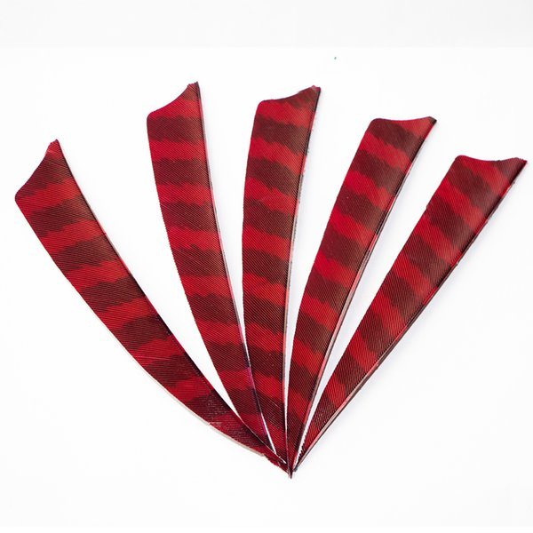 30pcs 4'' Left Wing Feathers for Glass Fiber Bamboo Wood Archery Arrows Hunting and Shooting Shield Red-black Fletching