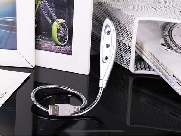 3 LED 3led серебро гибкая змея металл USB мини свет лампы огни для ноутбука ноутбук 0001