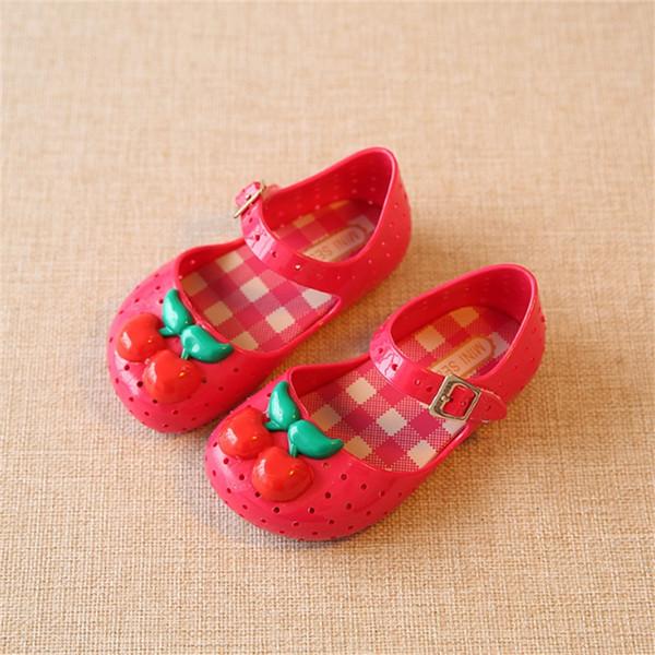 Kız Çocuklar Için Ayakkabı Yeni Sınırlı Kayış Bebek Kauçuk Mini Sed Sevimli Kiraz Kız Sandalet Yaz Çocuk Ayakkabıları