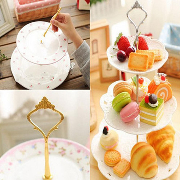 1 Sets 3 Tier Cake Plate Stand Handle Crown Fitting Metal Wedding Party Silver/Golden (No Plates) Free Shipping