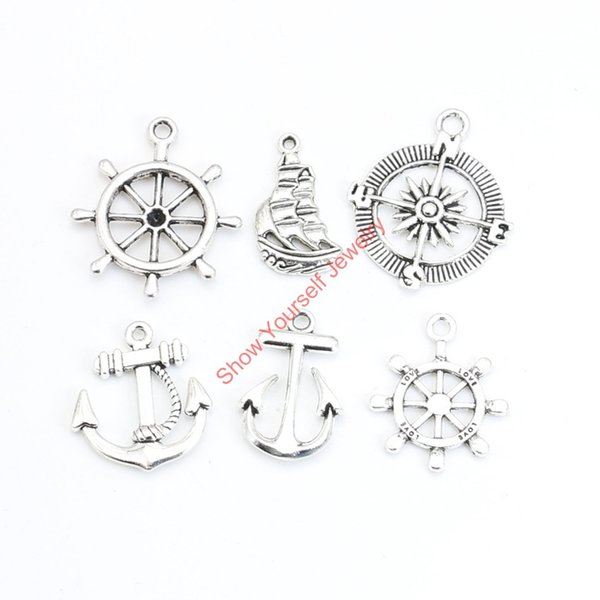Wholesale- 18pcs Mixed Tibetan Silver Plated Compass Rudder Anchor Charms Pendants for Jewelry Making DIY Handmade Craft