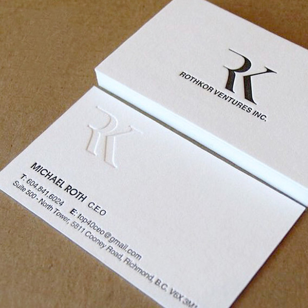 letterpress 600gsm business cards custom silver golden foil thick paper edge colour Free shipping