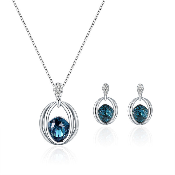 Bridal Necklace Earrings 2pcs jewelry sets top sales water drop women fashion jewelry blue color min order 5sets