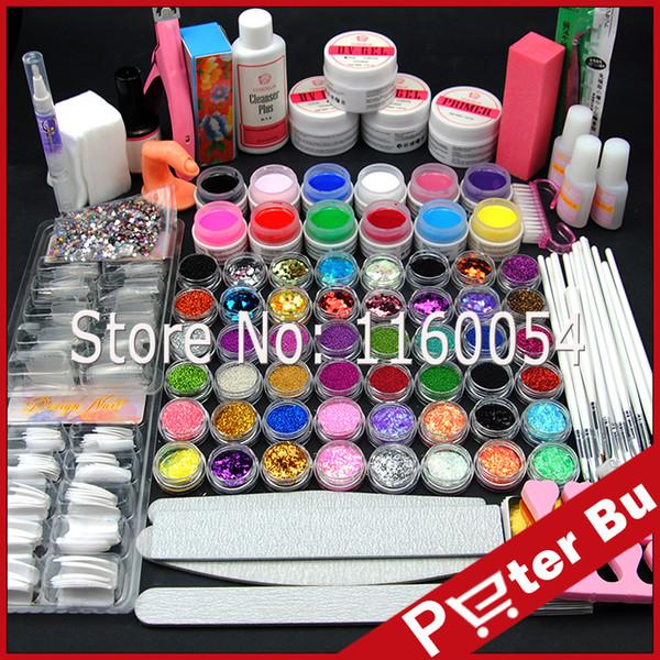 Vente en gros - Kit de poudre acrylique COSCELIA UV Gel +12 Couleur Pure Gel UV Glitter Liquide Gel UV TopCoat Nettoyant Primer Nail Art outils ensemble