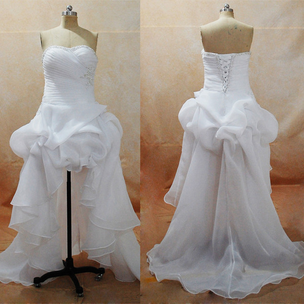 best selling 2017 Summer Beach Wedding Dresses Plus Size Sweetheart Hi-Lo Little White Dresses with Organza Satin Skirt Bridal Gowns Real Images