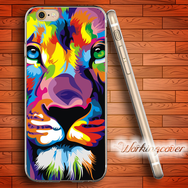 Capa Colorful Lion King Soft Clear TPU Case for iPhone 7 6 6S Plus 5S SE 5 5C 4S 4 Case Silicone Cover.