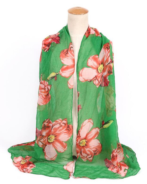 New Design Florial Voile Cotton Scarf light color Big Flower Print Scarf Large Size Long Scaves For Women Scarfs 6 colors DHL Free