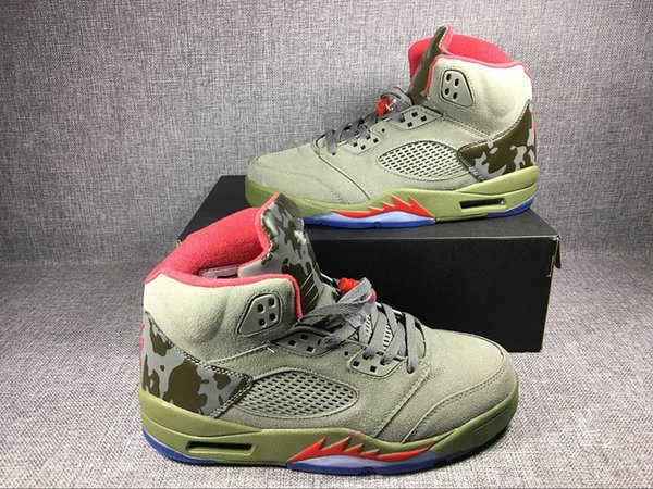 buy online 37397 d1a6c 2017 With Box Mens Retro 5 V Basketball Shoes Camo Green Camouflage  Basketball Shoes High Quality Retro 5 Sport Training Sneakers Size Us7 13  From ...