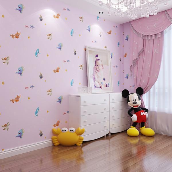 3D cartoon wall paper ocean fish kids room background wallpaper boy girl bedroom non - woven wallpaper