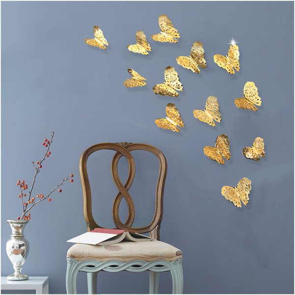 3D PVC Wall Stickers Gold Silver Butterflies Hollow DIY Home Decor Poster Kids Rooms Wall Decoration Party Wedding Decor 12pcs/lot