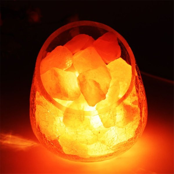 Himalayan Natural Crystal Salt table Lamp Mineral Rock Light dimmable Crackle glass egg ball lampshade Air Purification Therapy Mineral Rock