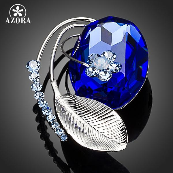 AZORA Unique Design Banana Leaf With Blue Stellux Austrian Crystal Flower Pin Brooch TP0014