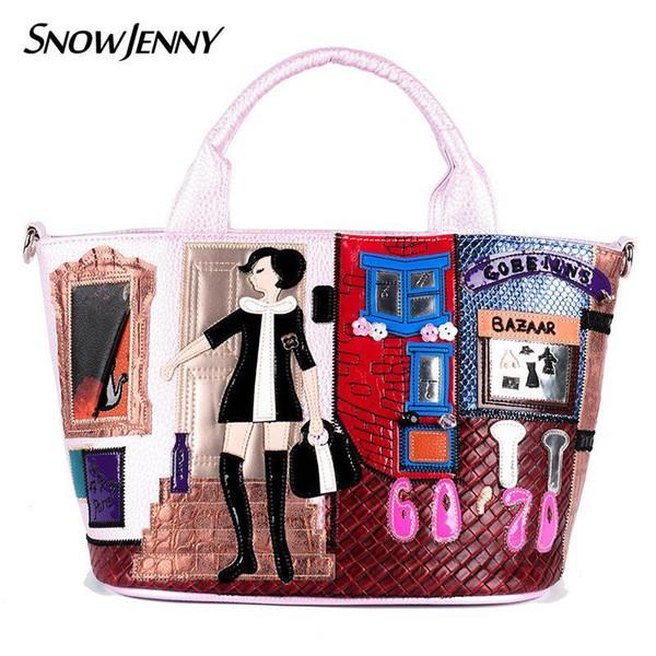 Schöne Frauen Umhängetaschen Weibliche Umhängetasche Handtaschen Totes Borsa Braccialini Stil Italien Handwerk Design Kunst Cartoon Shopper Mädchen