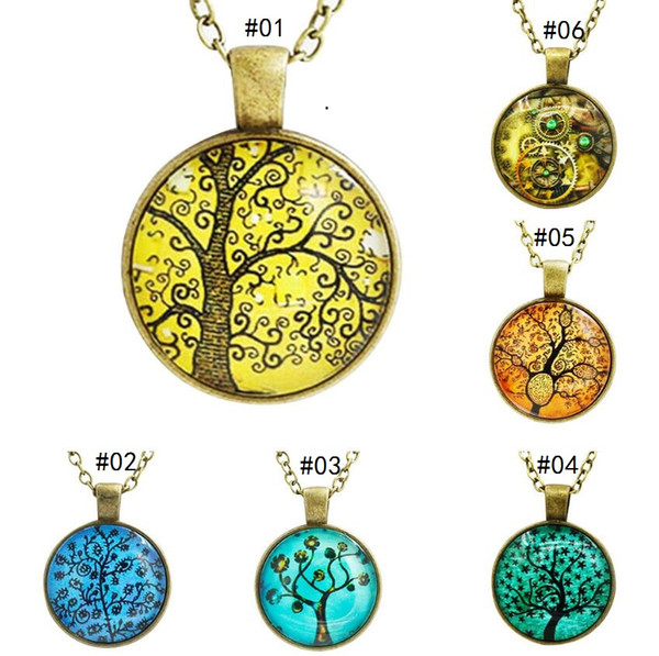 12 Styles Tree of Life Pendant Necklace Jewelry art and the thought of the tree Vintage Family Christmas Style Charm Jewellery Gift
