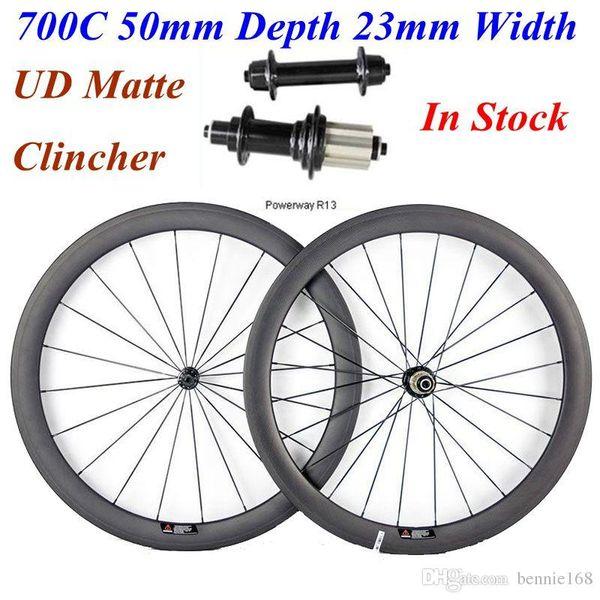 Carbon Wheels 700C 50mm Depth 23mm Width Powerway R13 Hubs UD Matte Clincher Full Carbon Road Bicycle Wheelset