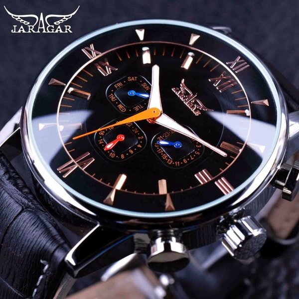 Jaragar Classic Colourful 3 Dial Date Design Luminous Hands Black Leather Strap Mens Watch Brand Luxury Automatic Mechanical Watch for Mens