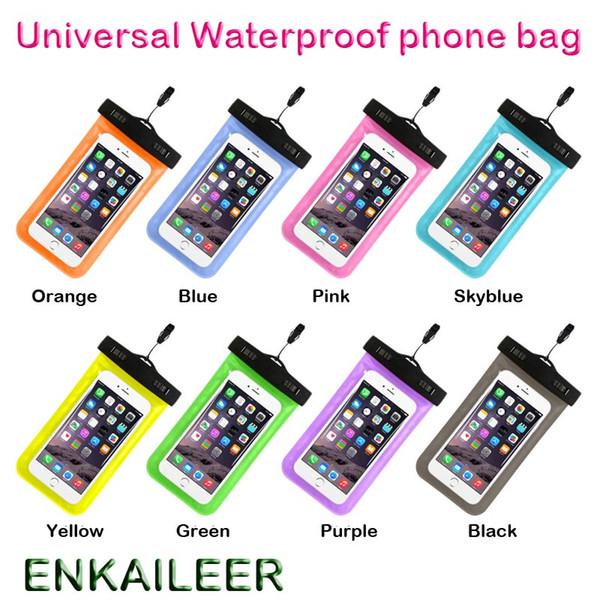 Camuflaje Bolsa impermeable Bolsa de brazalete a prueba de agua Cubierta para fundas a prueba de agua universales Todos los iphone 7 bolsa de teléfono celular envío libre de DHL