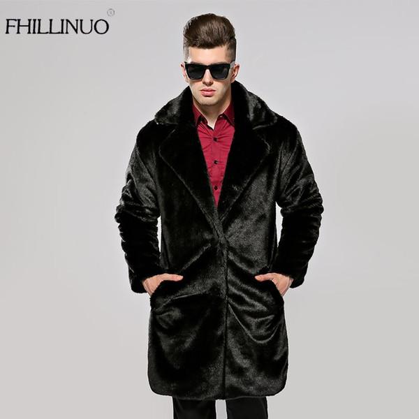 FHILLINUO Men fur coat imitation fur mink coats long sleeve men turn collar clothing overcoat fur outerwear faux mink jacket