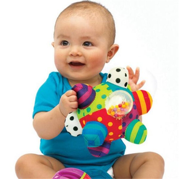 Sassy Developmental Bumpy Ball Soft Cloth Baby Toddlers Hand Rattles Bell Learning Education Training Grasping Toy For Baby Toys 0-12 Months
