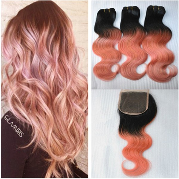 Peruvian 1B Rose-Gold Ombre Body Wave Virgin Hair Weave With 4*4 Closure,3Pcs Rose Gold Two Tone Human Hair Hundles With Lace Closure