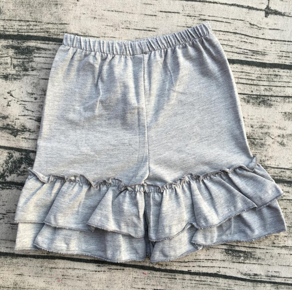 2017 new arrival wholesale toddler childrens cotton ruffle shorts,baby double ruffle shorts,girls ruffle shorts children clothes