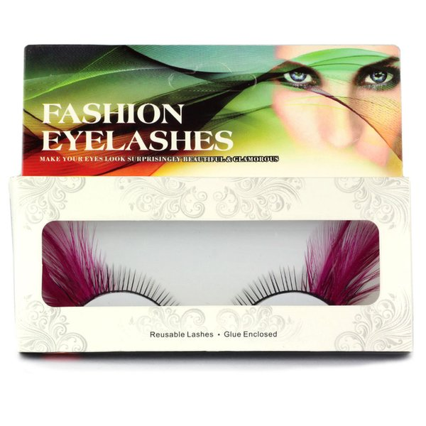 1 Pair of Sets of Colorful Purple Wing Feathers False Eyelashes For The Party \Makeup Handmade hair Exaggerated Eyelashes