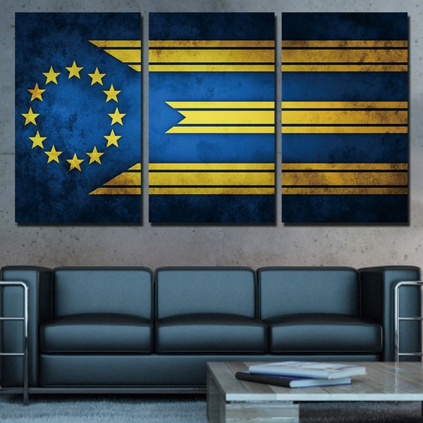 3 Panels Canvas Art Flag Stars Lines Home Decoration Wall Art Painting Canvas Prints Pictures for Living Room Poster XA-1038C