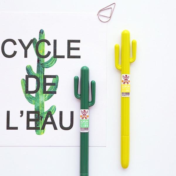 All'ingrosso-72 pezzi / lotto Penna gel verde erba Cactus penne escolar caneta per la scrittura di cancelleria materiale scolastico escolar materiale scolastico 6296