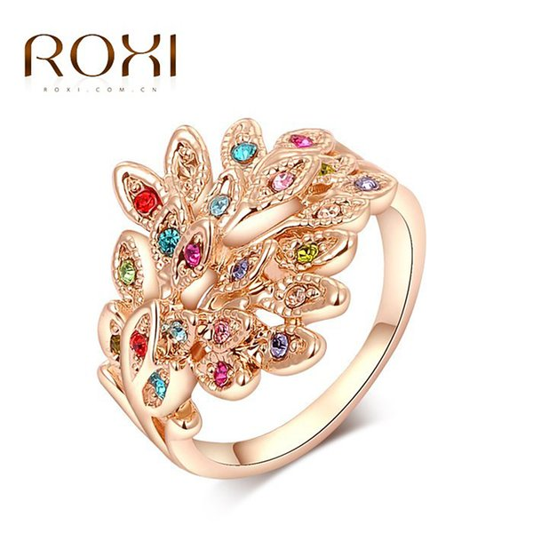 ROXI Brand Peacock Rings Rose Gold Color Genuine Austrian Crystals Fashion Women Wedding Jewelry Christmas Gift