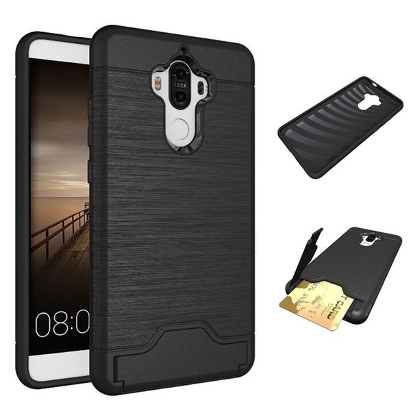 Hybrid Dual Layer Armor Case for Huawei Mate9 Brushed Metal Slim Fit Protective Hidden Wallet Cover with Card Slot ID Holder Kickstand